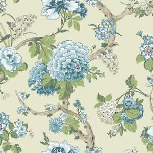 Wallpaper-Classic-Jacobean-Floral-in-Blue-Greens-and-Tan-on-Pearlized-Bone