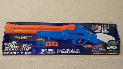 Air Warriors Double Shot Barrel Shotgun Blaster Rifle Shot Gun Blue Buzz Bee Toy Ebay
