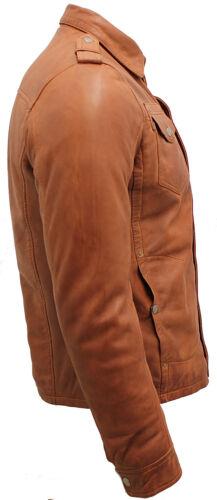 Men/'s tan vintage jeans en cuir veste chemise