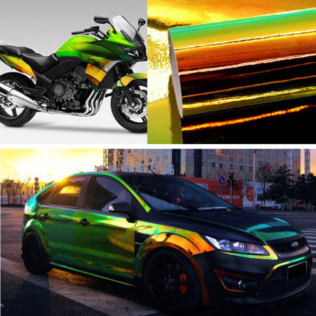 Holographic Black Rainbow Chrome Metallic Gloss Car Vinyl Wrap
