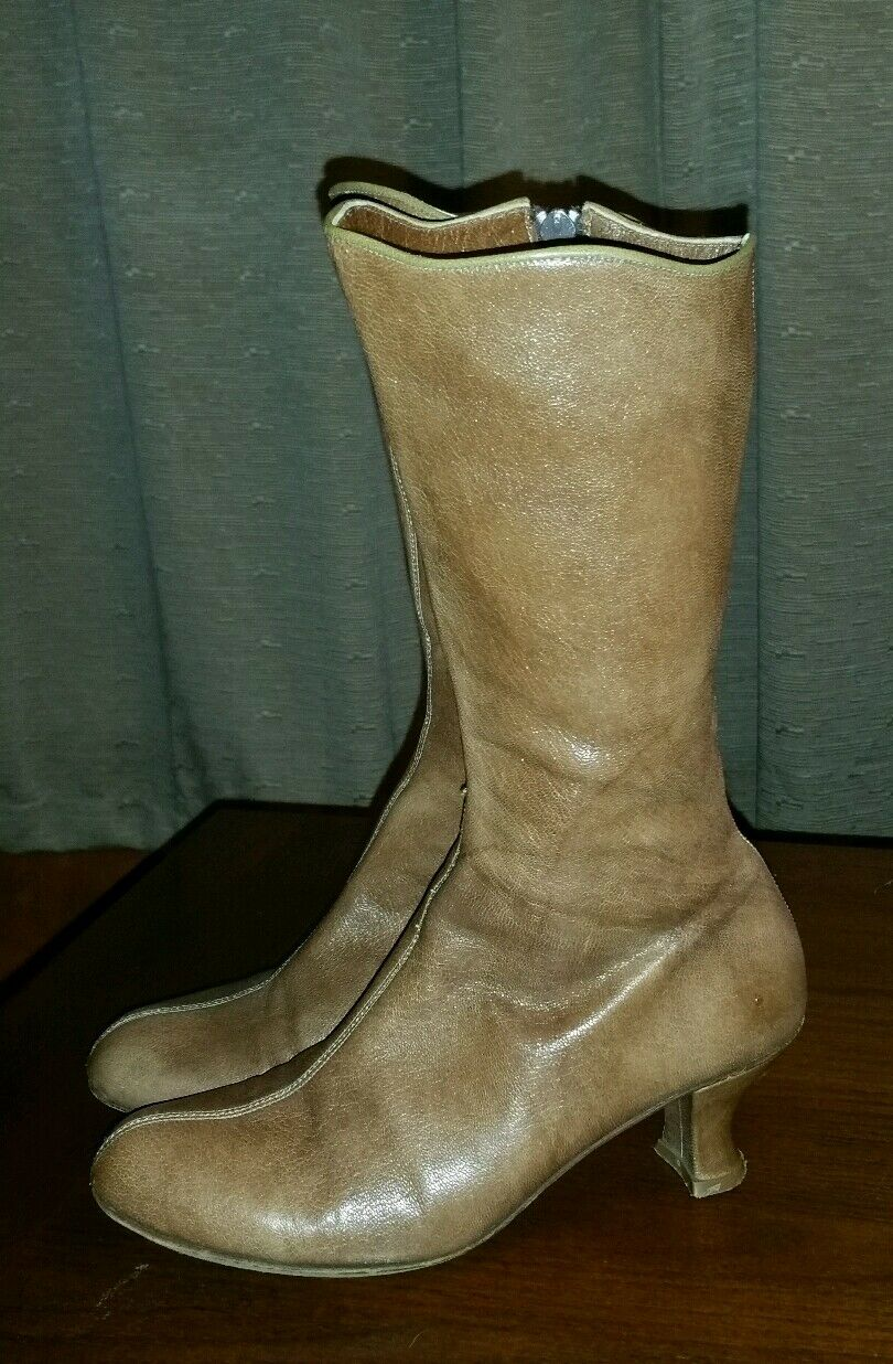 RARE VINTAGE LISA NADING STEAMPUNK LEATHER GRANNY BOOTS 36.5 BROWN 6 M HEELS