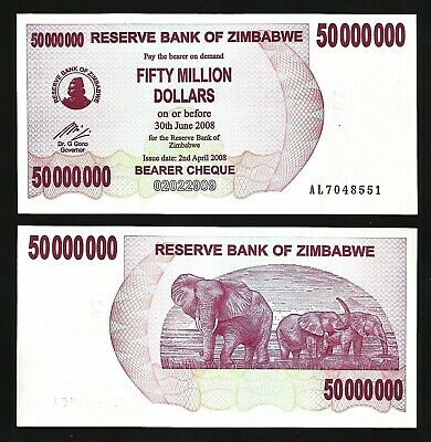 ZIMBABWE 50 MILLION DOLLARS BEARER CHEQUE 2008 P 57 UNC