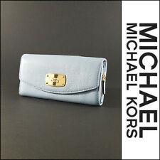 Michael Kors Jet Set Slim Flap Clutch Wallet Navy Pebbled Leather 35T3GJSE7L