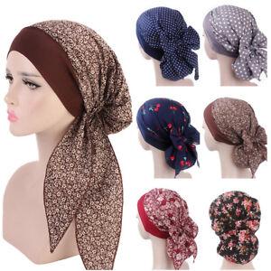 Floral-Print-Hijab-Cap-Muslim-Women-039-s-Chemo-Turban-Long-Tail-Scarf-Hat-Headwrap
