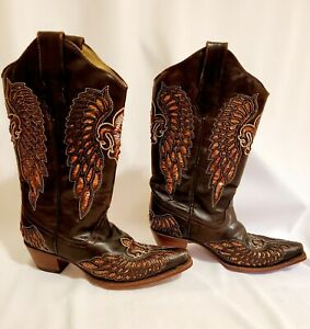 Corral Boots Size 8 Dark Brown Leather
