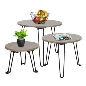 Details About Nest Of 3 Coffee Tables Round Mdf Side End Tables Metal Legs Dark Brown
