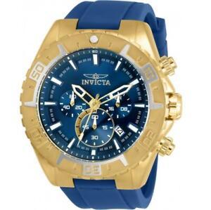 Invicta Aviator 30753 Men's Rose-Gold Tone Chronograph Blue Silicone Watch