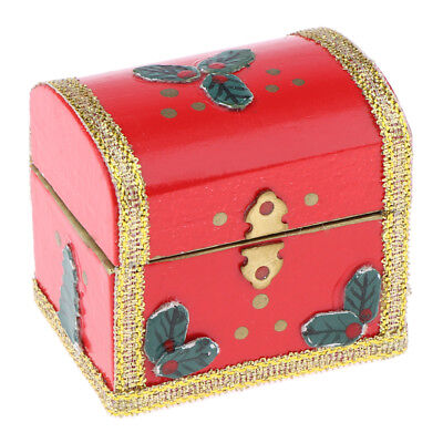 1pc 1:12 Scale Dollhouse Miniature Filled Wooden Jewelry Box Accessories Be L5V1