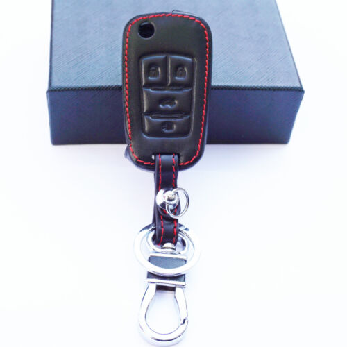 Genuine Leather 4 Buttons Remote Key Chain Holder Cover For Buick Chevrolet GMC
