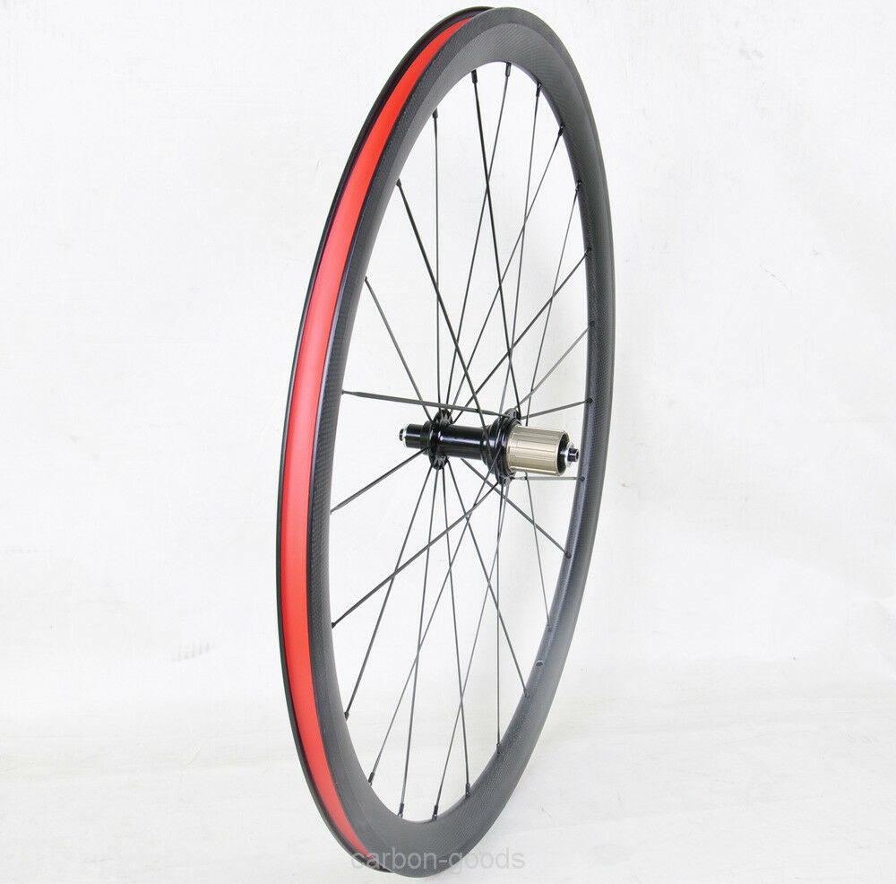 23 wide 38mm Clincher Carbon Rear Wheel Road Bike wheels 3k Matt Tyre Cushion