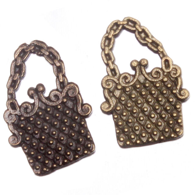 50x Antique Bronze Chain Handbag Shape Charms Alloy Pendant Ornaments Jewelry J