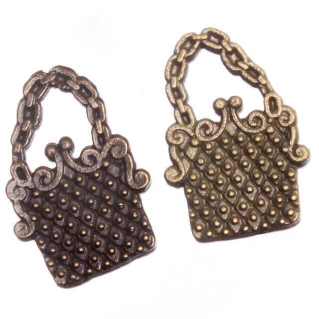 50x Antique Bronze Chain Handbag Shape Charms Alloy Pendant Ornaments Jewelry J