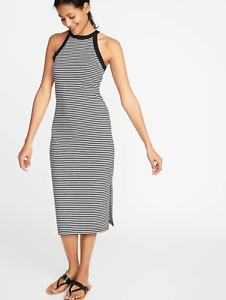 6c97133d1e8b Old Navy Fitted High-Neck Sleeveless Midi Dress for Women Black Tall ...