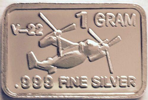 1 Gram .999 Fine Pure Solid Silver Bullion ~ Mini Art-Bar ~ V-22 Osprey ~