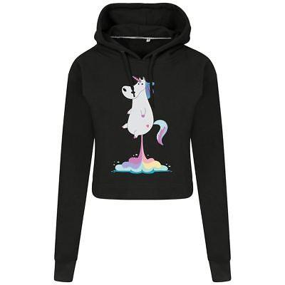LiebenswüRdig Unicorn Fart Crop Hoodie Top Women Inspired Sweatshirts Giftset For Her Dauerhaft Im Einsatz