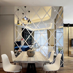 Details about DIY 3D Stickers Mirror Wall Sticker Reflection Home Living  Room Wall Decor F2