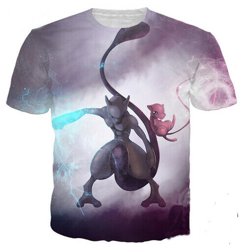 Pokemon Mew and Mewtwo Casual Women Men T-Shirt 3D Print Short Sleeve Tee Tops