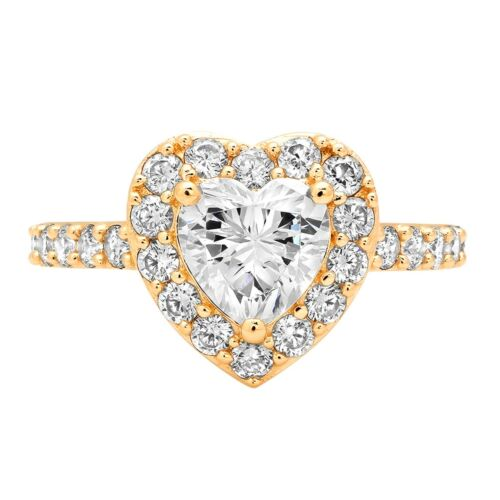 Details about  /2.25 ct Heart Halo White Sapphire Classic Bridal Statement Ring 14k Yellow Gold