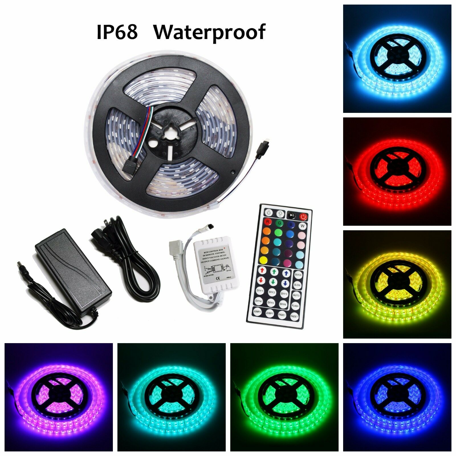 5m smd rgb 5050 ip68 waterproof 300 led strip light 44 key remote 12v power kit ebay. Black Bedroom Furniture Sets. Home Design Ideas