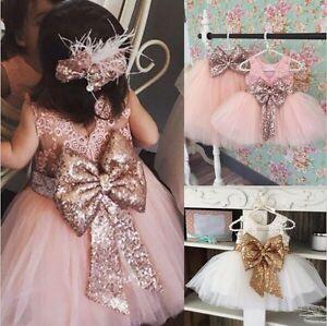 Flower-Girl-Sequin-Tulle-Tutu-Baby-Dress-Princess-Vintage-Party-Wedding