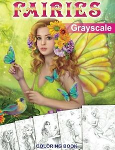 Details About Fairies Grayscale Coloring Book For Adults By Alena Lazareva