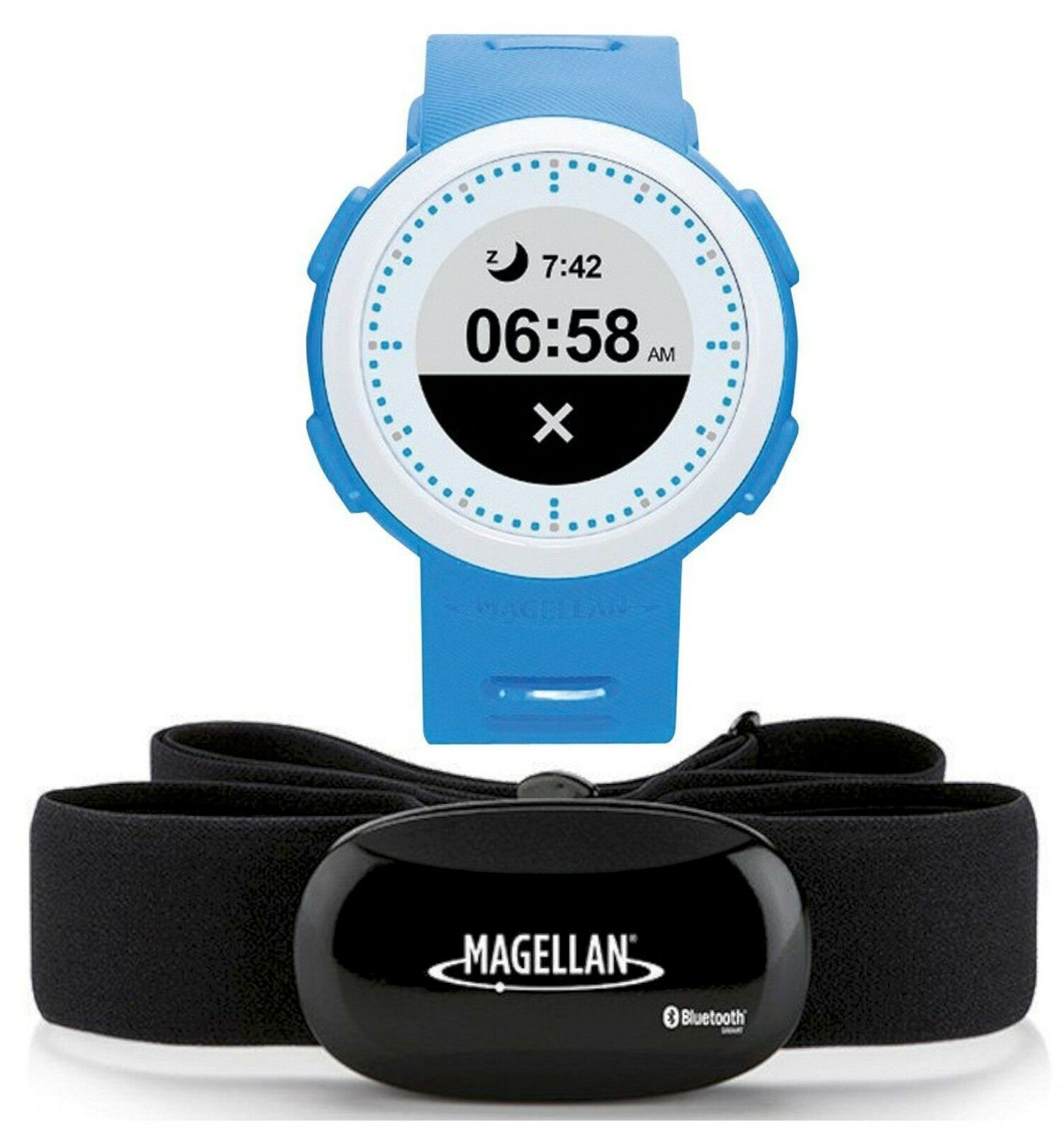 NEW Magellan Echo FIT Smart + HRM Sports Fitness Watch bluee White blueetooth