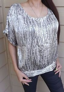 JOIE-100-SILK-Women-039-s-Size-S-Dolman-Sleeve-Abstract-Glossy-Top-SILVER-GRAY