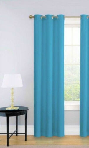 1PC AQUA BLUE GROMMETS PANEL ROOM DARKENING INSULATE LINED BLACKOUT