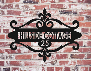 Custom Metal Address Sign House Number Name Front Porch Decor With Metal Plate