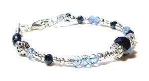 Blue-Crystal-Silver-Bracelet-OOAK-Handmade-Crystal-Beaded-Bracelet-One-of-a-Kind