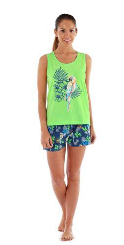 Ladies Parrot Print Short PJ Set Shortie Pajamas Summer Pyjamas