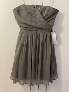 J Crew Womens Strapless Gray Broomstick Pleated Silk Dress Size Petite 12