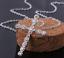 Collar-Cruz-De-Cristal-Colgante-de-placa-de-plata-esterlina-925-Cadena-De-Jesus-Damas-Nuevo miniatura 3