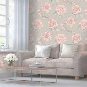 Rosa-Floral-Papier-Peint-Roses-Gris-9766-Belgravia-Decor