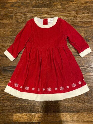 4T//5T EUC HANNA ANDERSSON Red Snowflake Santa Holiday//Xmas Dress Size 100