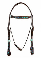 Western Dark Oil Browband Style Blue Stone Studded Headstall With Rawhide Knott