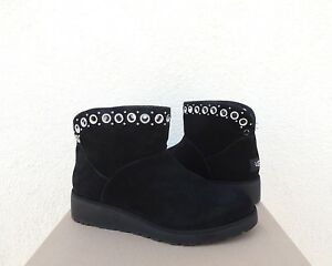 35a2c38227dc Image is loading UGG-RILEY-GROMMET-CLASSIC-BLACK-SUEDE-SHEEPSKIN-WEDGE-