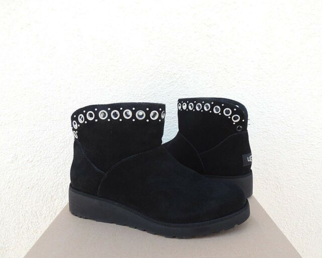 a89eff839ed UGG Australia Riley Suede Ankle BOOTS Grommets Fur Lined Wedge BOOTIES 8