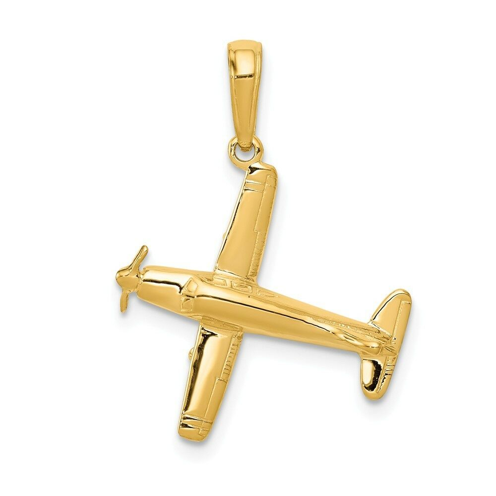 14k Yellow gold 3-D Low-Wing Airplane Charm Pendant 0.95 Inch