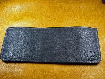 Black Bison BUFFALO LEATHER Bi Fold Wallet hand crafted disabled Navy vet  5010