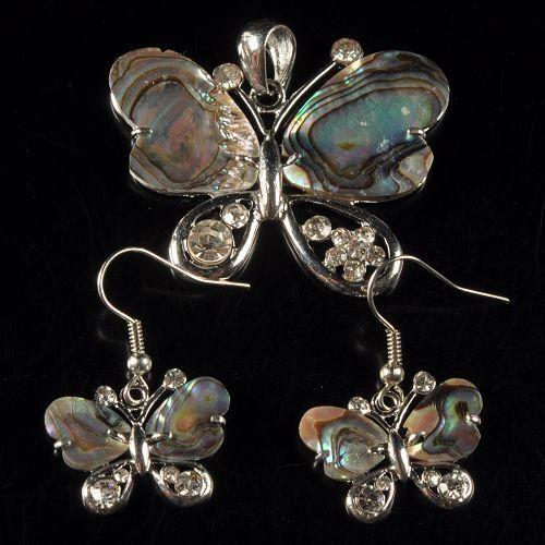 g1954 Abalone shell butterfly pendant earrings beads set