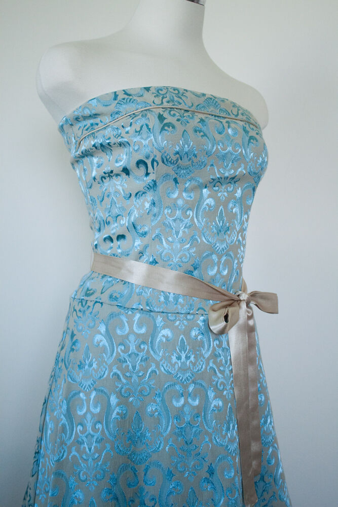 Marie Antoinette inspired Brocade Dress in French bluee bluee bluee Floral Print - Size 3 4 1e2ee0