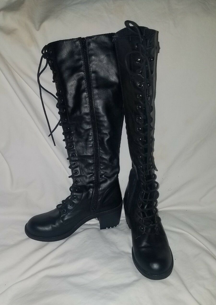 NEW LEILA STONE ROONEY BLACK MILITARY COMBAT BOOTS SIZE 8