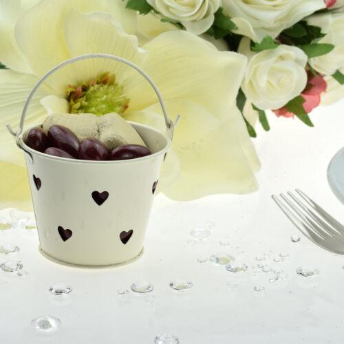 Pack of 10 Ivory Love Hearts Design Favour Pails Favour Buckets XMEFABU22