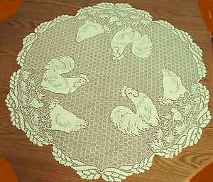 Image Is Loading Table Topper Rooster 30 Round Ecru Lace Table