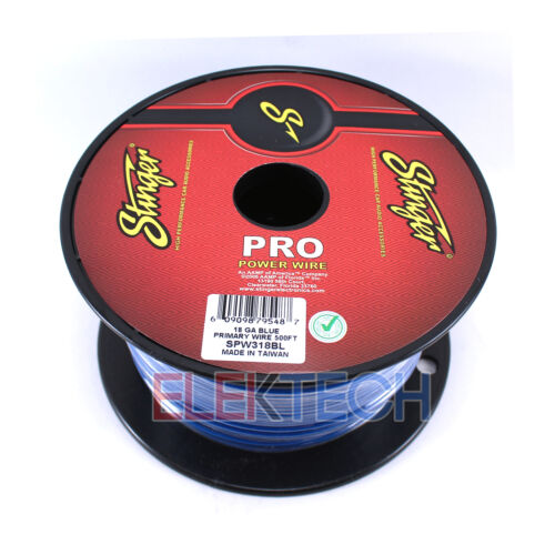 Stinger SPW318BL Audio Power Wire 18 Gauge Cable 500 ft Spool Roll Blue