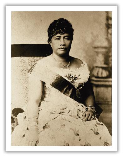 Queen Liliuokalani Hawaii Aloha Oahu Portrait Vintage Art Poster Print Giclee