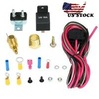 Electric Cooling Fan Wiring 170-185 Degree Relay Thermostat Install Kit Us Stock on Sale