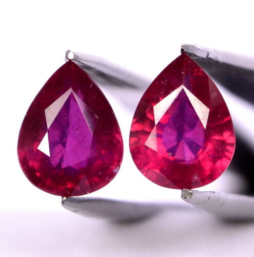 Natural Ruby Pear Cut Pair 9x7 mm 4.43 Cts Faceted Calibrated Loose Gemstones GF