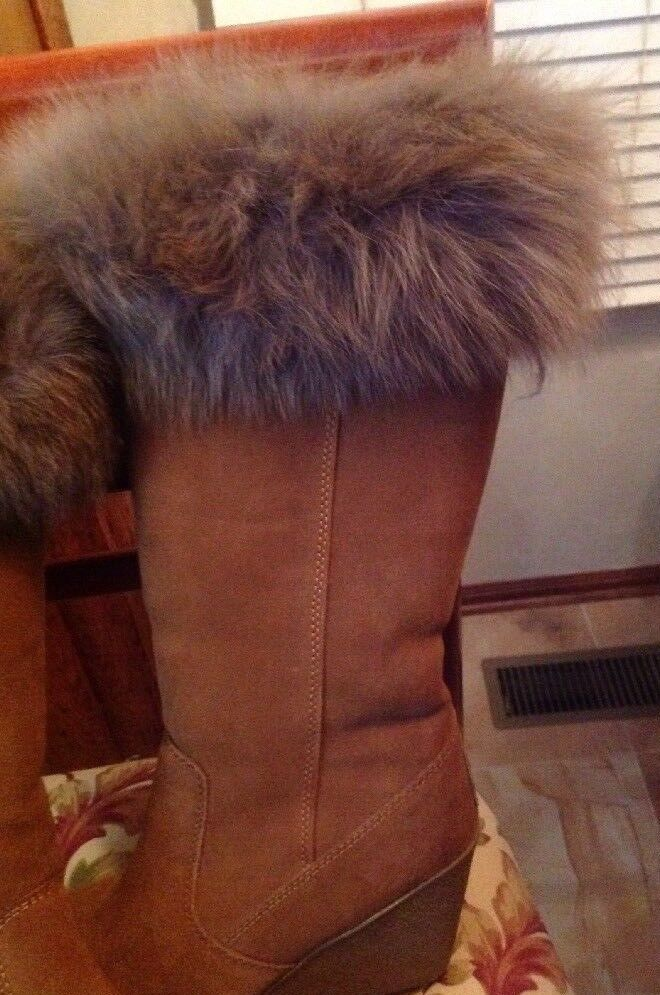 Bearpaw Stiefel Stiefel Stiefel Real Fox Suede Wool Sheepskin Lining Great Condition, W Tags 8M 4cee35